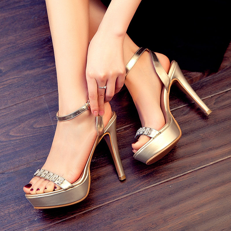 Open Toe Stiletto Heel Crystal Ankle Strap Platform Sandals 7.5 Gold