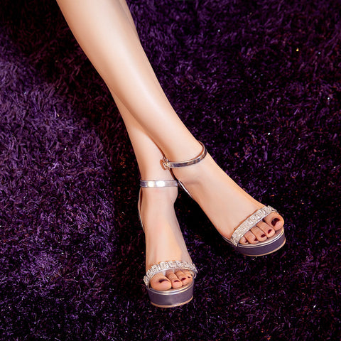 Open Toe Stiletto Heel Crystal Ankle Strap Platform Sandals 7 Silver