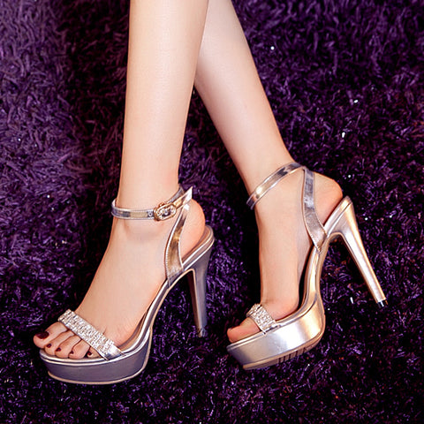 Open Toe Stiletto Heel Crystal Ankle Strap Platform Sandals 7.5 Silver