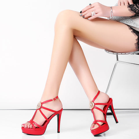 Head Layer Cowhide Pure Color Open Toe Stiletto Heel Metal Embellished Slingback Sandals 7.5 Red