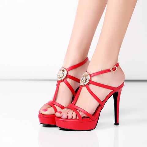 Head Layer Cowhide Pure Color Open Toe Stiletto Heel Metal Embellished Slingback Sandals 7 Red