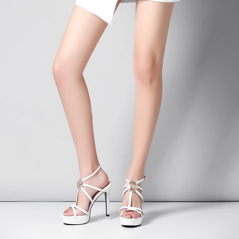 Head Layer Cowhide Pure Color Open Toe Stiletto Heel Metal Embellished Slingback Sandals 7 White
