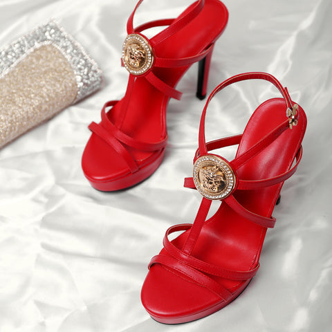 Head Layer Cowhide Pure Color Open Toe Stiletto Heel Metal Embellished Slingback Sandals 8 Red