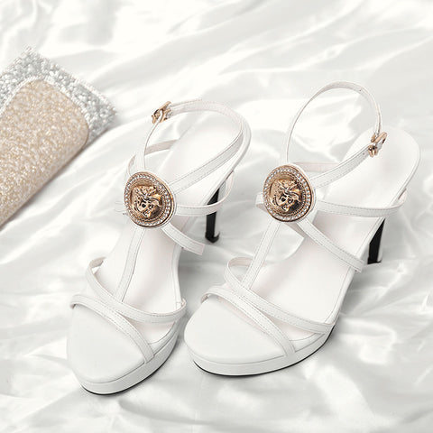 Head Layer Cowhide Pure Color Open Toe Stiletto Heel Metal Embellished Slingback Sandals 8 White
