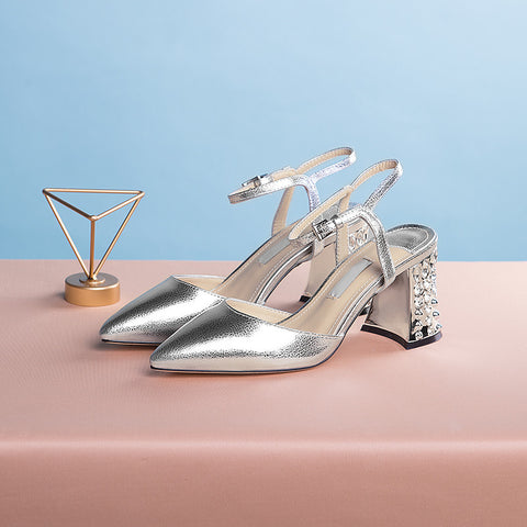 Head Layer Cowhide Pure Color Pointy Toe Crystal Block Heel Ankle Strap Fine Grained Sandals 9.5 Silver