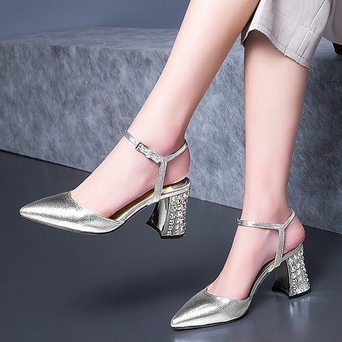 Head Layer Cowhide Pure Color Pointy Toe Crystal Block Heel Ankle Strap Fine Grained Sandals 9 Silver