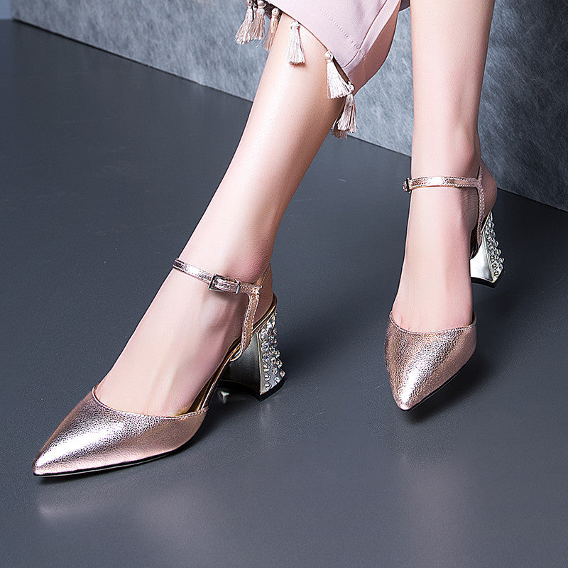 Head Layer Cowhide Pure Color Pointy Toe Crystal Block Heel Ankle Strap Fine Grained Sandals 8.5 Gold