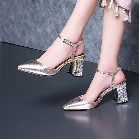 Head Layer Cowhide Pure Color Pointy Toe Crystal Block Heel Ankle Strap Fine Grained Sandals 9 Gold
