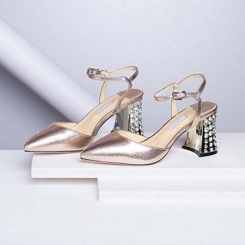 Head Layer Cowhide Pure Color Pointy Toe Crystal Block Heel Ankle Strap Fine Grained Sandals 9.5 Gold