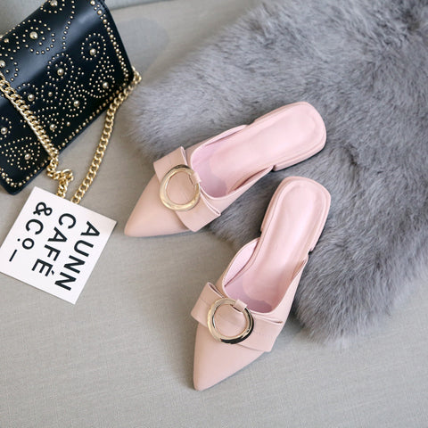 Head Layer Cowhide Pure Color Pointy Toe Low Block Heel Metal Embellished Mules 8 Pink