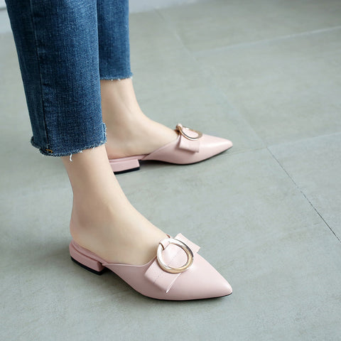 Head Layer Cowhide Pure Color Pointy Toe Low Block Heel Metal Embellished Mules 7 Pink