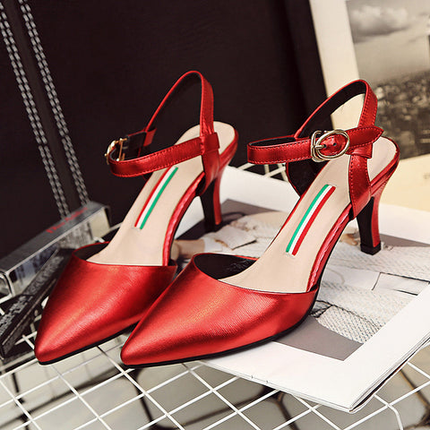 Head Layer Cowhide Pure Color Pointy Toe Stiletto Heel Metal Buckle Belt Fine Lines Sandals 8 Red