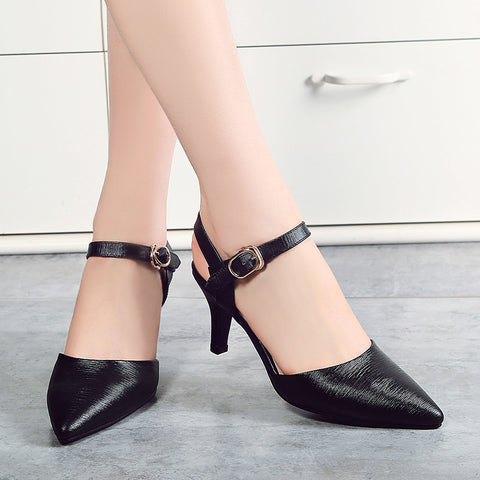 Head Layer Cowhide Pure Color Pointy Toe Stiletto Heel Metal Buckle Belt Fine Lines Sandals 7 Black