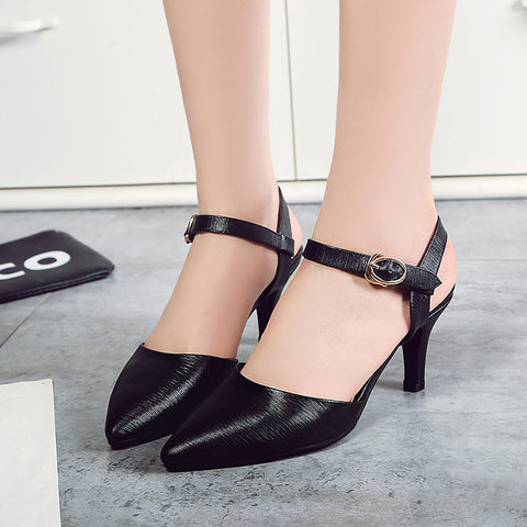 Head Layer Cowhide Pure Color Pointy Toe Stiletto Heel Metal Buckle Belt Fine Lines Sandals 7.5 Black