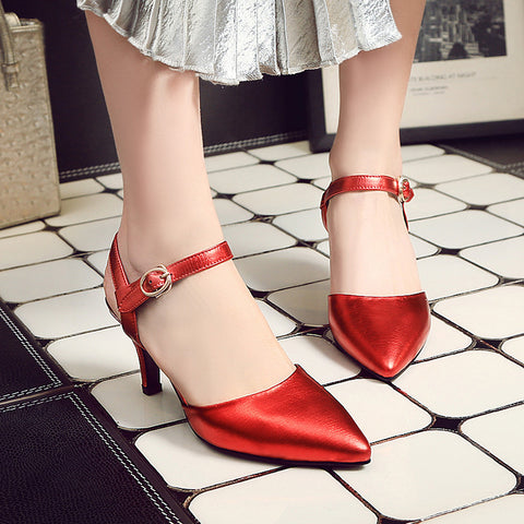 Head Layer Cowhide Pure Color Pointy Toe Stiletto Heel Metal Buckle Belt Fine Lines Sandals 7.5 Red