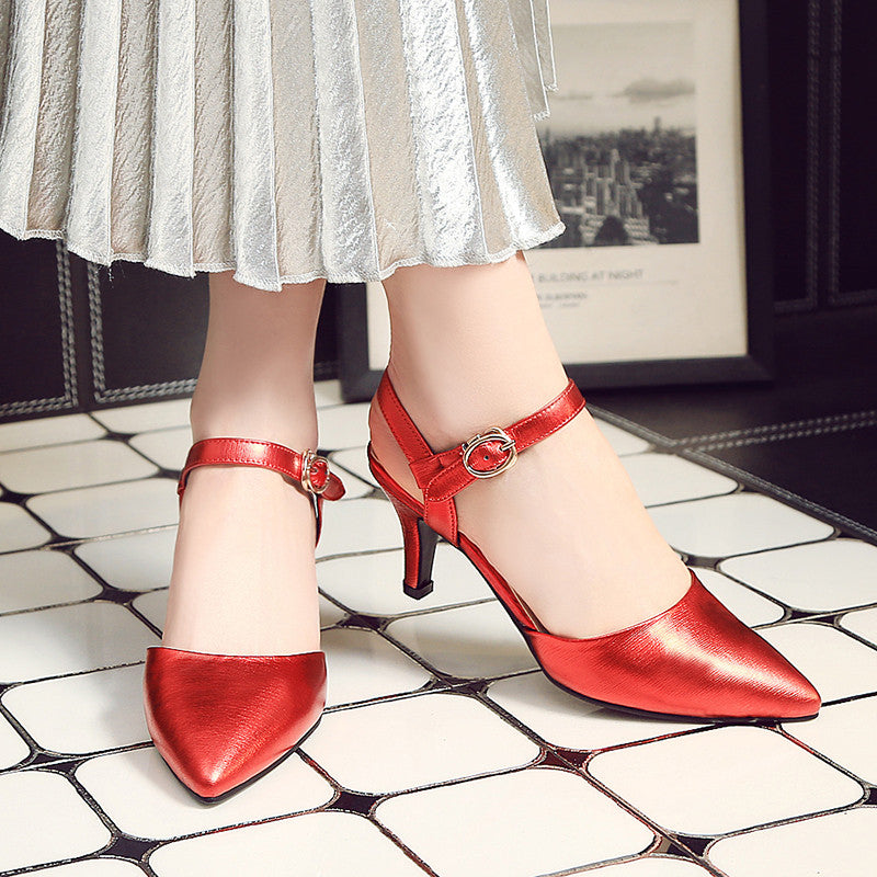 Head Layer Cowhide Pure Color Pointy Toe Stiletto Heel Metal Buckle Belt Fine Lines Sandals 7 Red