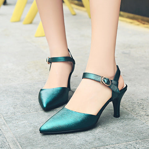 Head Layer Cowhide Pure Color Pointy Toe Stiletto Heel Metal Buckle Belt Fine Lines Sandals 7 Dark green