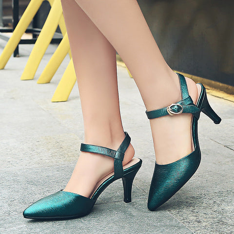 Head Layer Cowhide Pure Color Pointy Toe Stiletto Heel Metal Buckle Belt Fine Lines Sandals 7.5 Dark green
