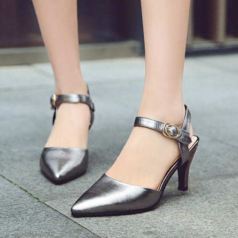Head Layer Cowhide Pure Color Pointy Toe Stiletto Heel Metal Buckle Belt Fine Lines Sandals 7 Gray