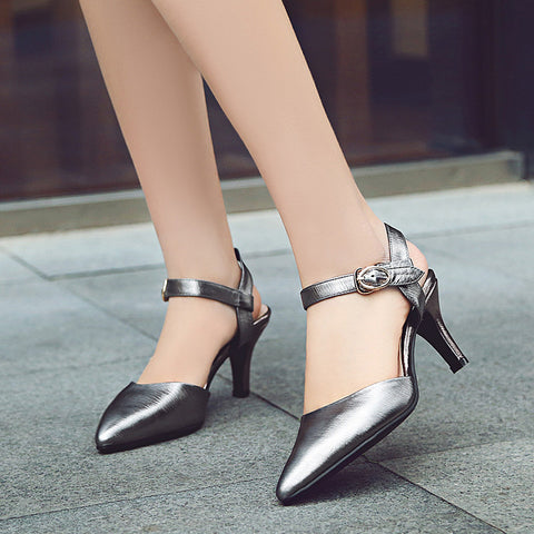 Head Layer Cowhide Pure Color Pointy Toe Stiletto Heel Metal Buckle Belt Fine Lines Sandals 7.5 Gray