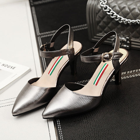 Head Layer Cowhide Pure Color Pointy Toe Stiletto Heel Metal Buckle Belt Fine Lines Sandals 8 Gray