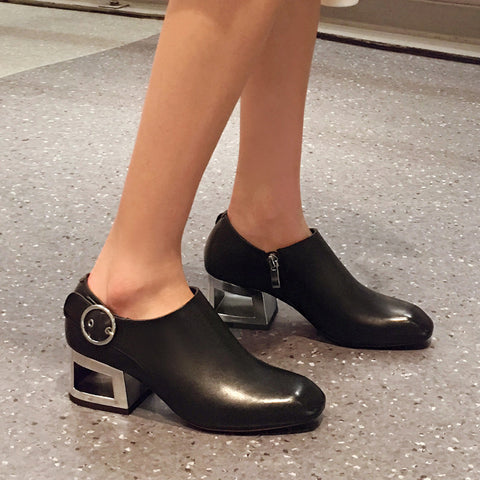 Head Layer Cowhide Pure Color Square Toe Block Heel Metal Buckle Belt Side Zipper Ankle Boots 7.5 Black