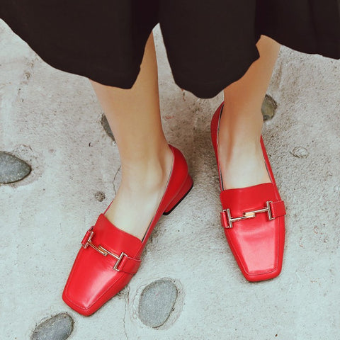 Head Layer Cowhide Pure Color Square Toe Block Heel Metal Embellished Loafers 7.5 Red