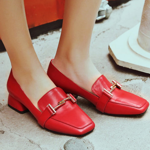 Head Layer Cowhide Pure Color Square Toe Block Heel Metal Embellished Loafers 7 Red