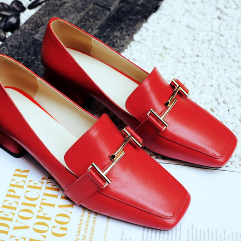 Head Layer Cowhide Pure Color Square Toe Block Heel Metal Embellished Loafers 6.5 Red