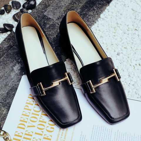 Head Layer Cowhide Pure Color Square Toe Block Heel Metal Embellished Loafers 6.5 Black