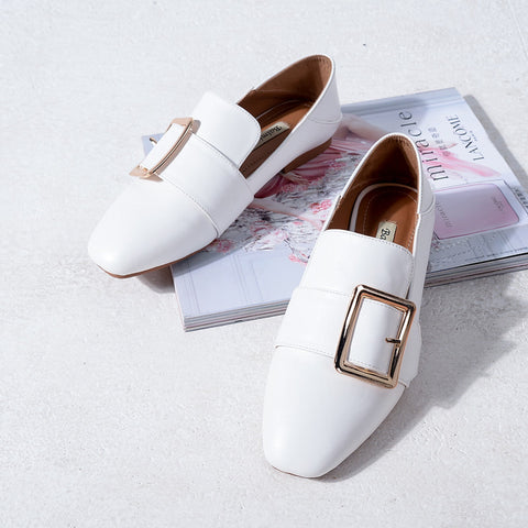 Head Layer Cowhide Pure Color Square Toe Flat Heel Metal Buckle Belt Loafers 8 White