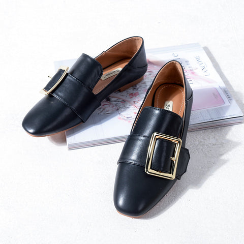 Head Layer Cowhide Pure Color Square Toe Flat Heel Metal Buckle Belt Loafers 8 Black