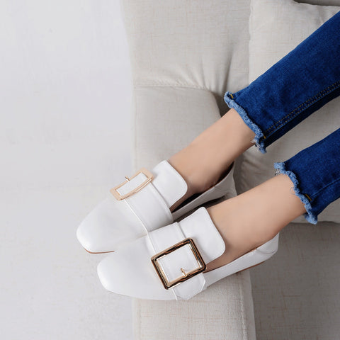 Head Layer Cowhide Pure Color Square Toe Flat Heel Metal Buckle Belt Loafers 7.5 White