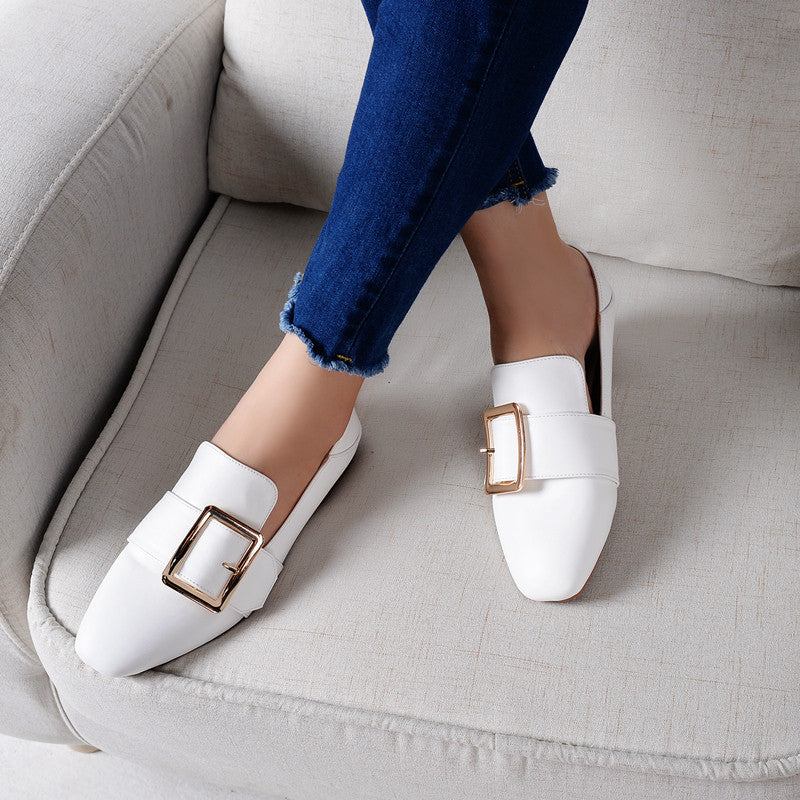 Head Layer Cowhide Pure Color Square Toe Flat Heel Metal Buckle Belt Loafers 7 White