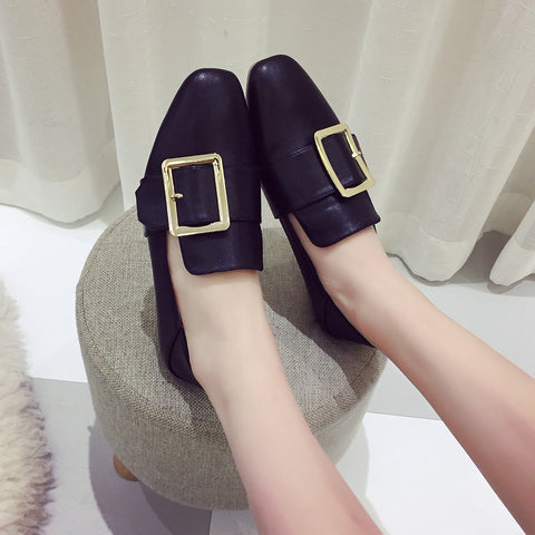 Head Layer Cowhide Pure Color Square Toe Flat Heel Metal Buckle Belt Loafers 7.5 Black