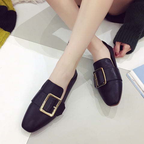 Head Layer Cowhide Pure Color Square Toe Flat Heel Metal Buckle Belt Loafers 7 Black