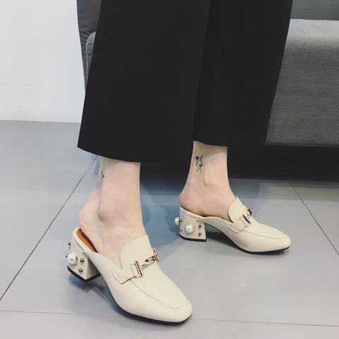Head Layer Cowhide Pure Color Square Toe Pearl Block Heel Metal Embellished Mules 7 Beige