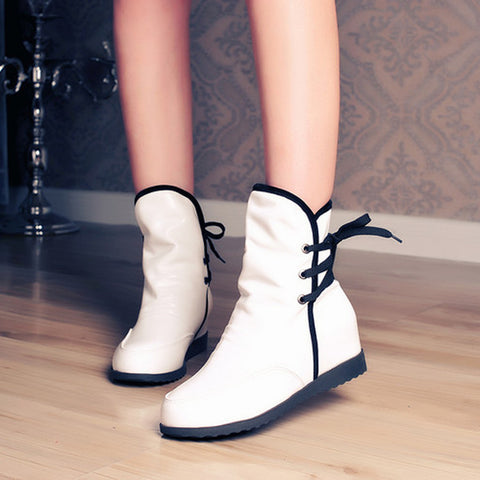PU Pure Color Round Toe Hidden Heel Back Lace Up Ankle Boots 9 White