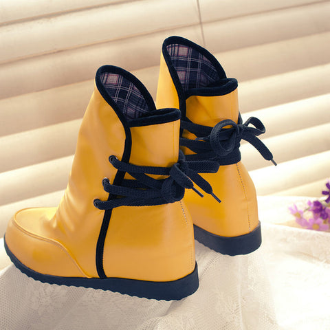 PU Pure Color Round Toe Hidden Heel Back Lace Up Ankle Boots 9.5 Yellow