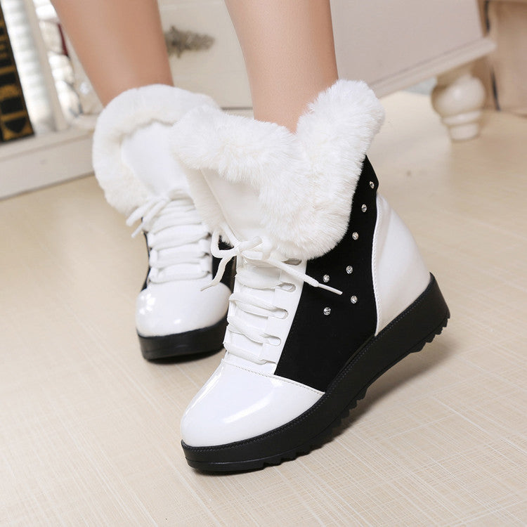 PU Round Toe Hidden Heel Crystal Lace Up Ankle Boots 7.5 White