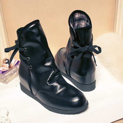 PU Pure Color Round Toe Hidden Heel Back Lace Up Ankle Boots 9.5 Black