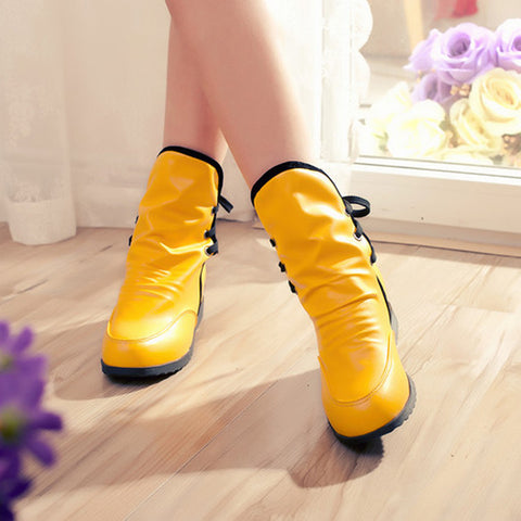 PU Pure Color Round Toe Hidden Heel Back Lace Up Ankle Boots 9 Yellow