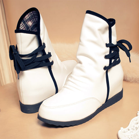 PU Pure Color Round Toe Hidden Heel Back Lace Up Ankle Boots 9.5 White