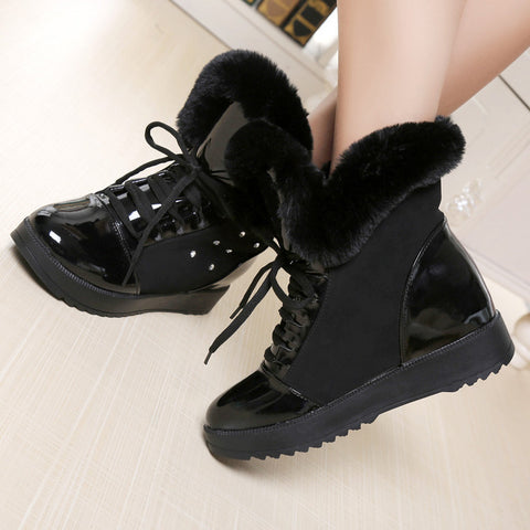 PU Round Toe Hidden Heel Crystal Lace Up Ankle Boots 7 Black