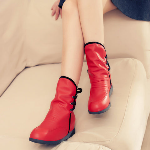PU Pure Color Round Toe Hidden Heel Back Lace Up Ankle Boots 8.5 Red
