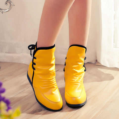 PU Pure Color Round Toe Hidden Heel Back Lace Up Ankle Boots 8.5 Yellow