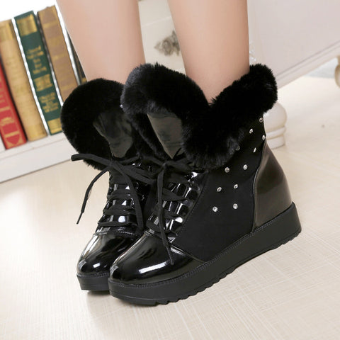 PU Round Toe Hidden Heel Crystal Lace Up Ankle Boots 8 Black