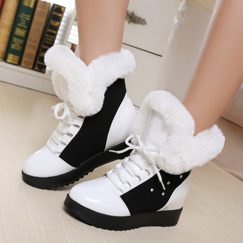 PU Round Toe Hidden Heel Crystal Lace Up Ankle Boots 8 White
