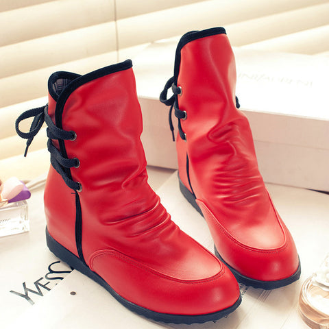 PU Pure Color Round Toe Hidden Heel Back Lace Up Ankle Boots 9.5 Red