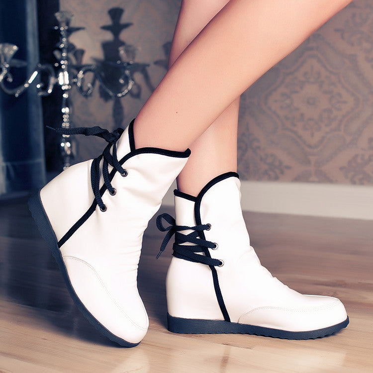 PU Pure Color Round Toe Hidden Heel Back Lace Up Ankle Boots 8.5 White